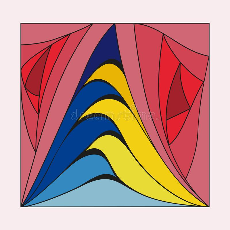 Illustratie van de textuur van gekleurde panelen van geometrische patronen voor gebruik door mensen in de vervaardiging van picto stock illustratie
