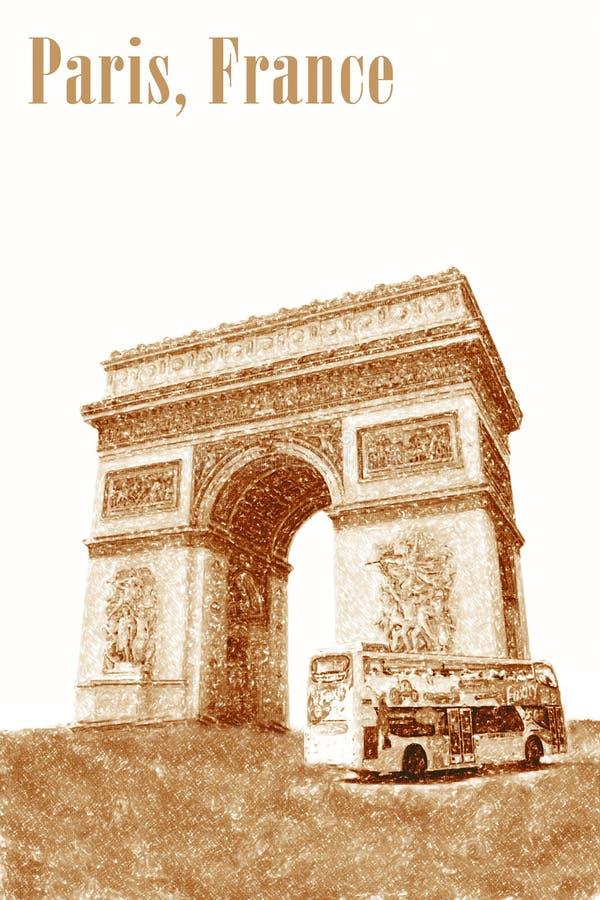 Illustratie van de Triomfantelijke Boog in Parijs, Frankrijk stock afbeeldingen