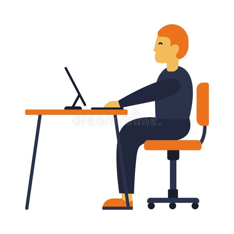 Illustratie van de vermoeide mens die aan computer op witte achtergrond werken De bedrijfsmens bij zijn bureau werkt aan laptop stock illustratie