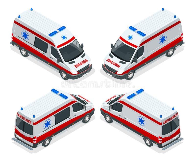 Illustratie van de vervoer de isometrische vastgestelde Ziekenwagen van vector Ongeval van de noodsituatie het medische evacuatie vector illustratie