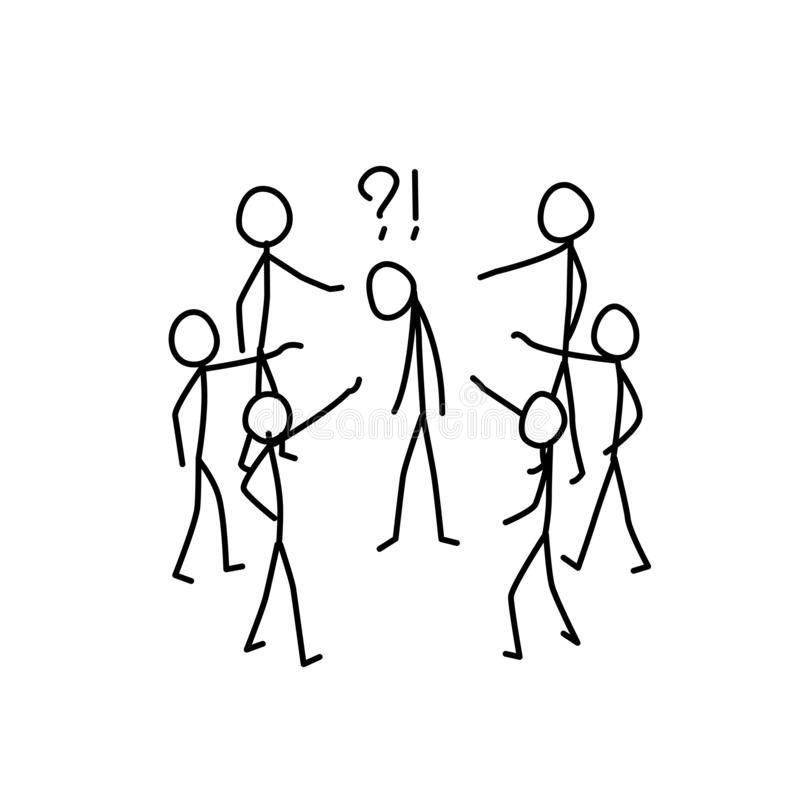 Illustratie van de vervolging van de mens in de maatschappij Vector De mensen lachen en bespotten de mens metafoor lineaire stijl vector illustratie