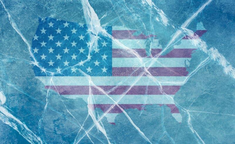 Illustratie van de vlag van de V.S. als grondgebied onder het ijs met barsten en een blauwe achtergrond wordt afgeschilderd die stock fotografie
