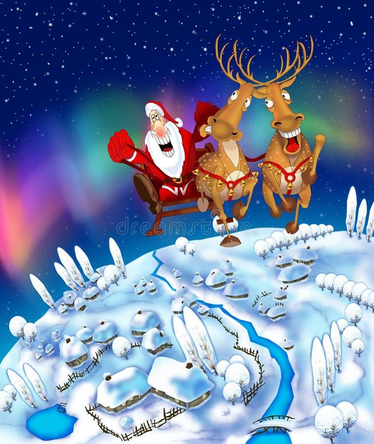 Illustratie van de vliegende Kerstman stock illustratie