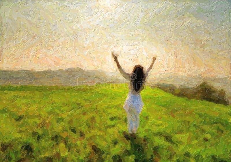 Illustratie van de vrouw van de menopauze op heuvel royalty-vrije stock afbeelding