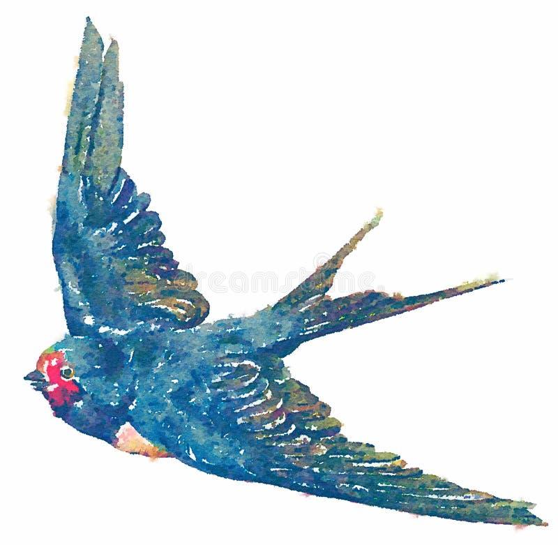 Illustratie van de waterverf de blauwe vogel op witte achtergrond