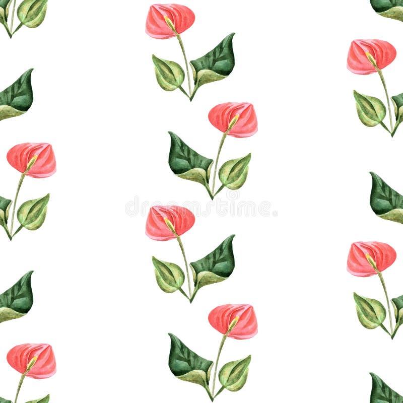 Illustratie van de waterverf de heldere zomer met tropische bloemen stock illustratie