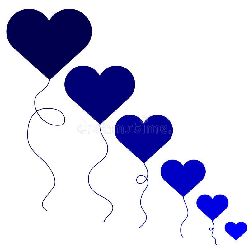 Illustratie van de Web de vectorvakantie van vliegende bos van blauwe ballonharten royalty-vrije illustratie