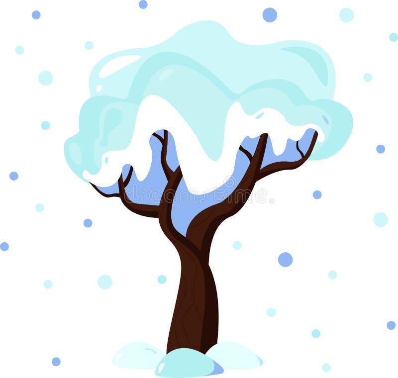Illustratie van de winterboom in sneeuw wordt behandeld die royalty-vrije illustratie
