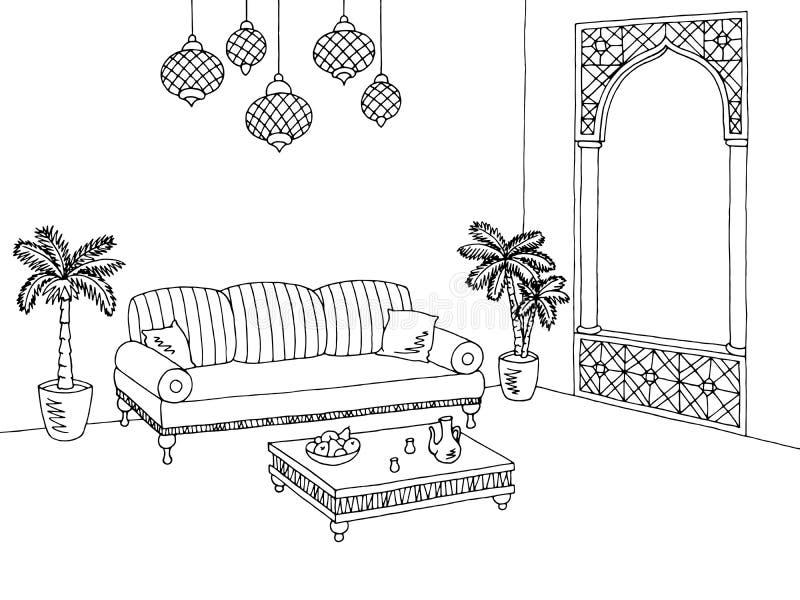 Illustratie van de woonkamer de grafische Arabische zwarte witte binnenlandse schets stock illustratie