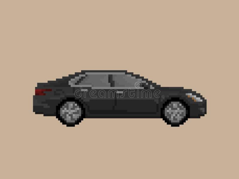 Illustratie van de zwarte auto van de sedanpremie in de stijl van de pixelkunst stock illustratie