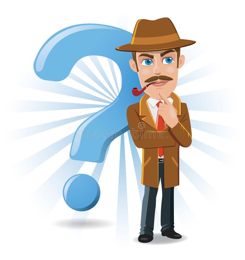 Illustratie van Detective Thinking met Grote Vraag Mark Background vector illustratie