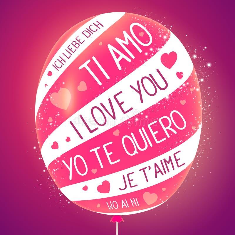Illustratie van dichte omhoog gestreepte ballon met de woorden op roze stock illustratie