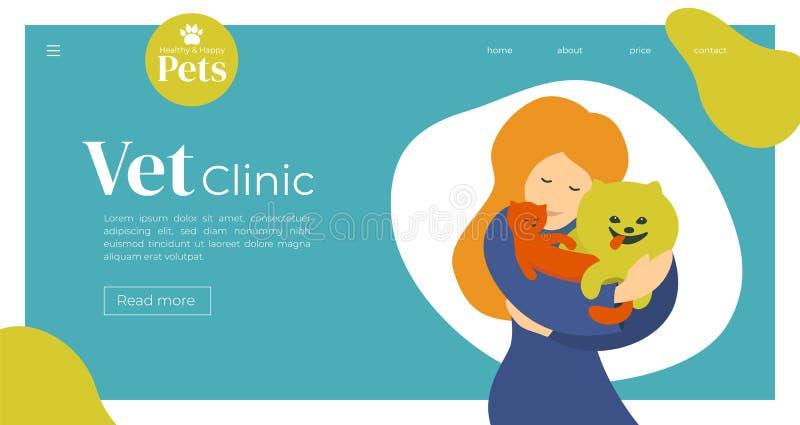 Illustratie van dierenartskliniek voor Web of drukontwerp stock illustratie