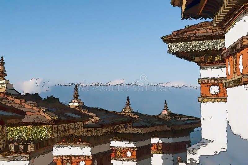 Illustratie van Dochula-Pas met Himalayagebergte op achtergrond - Bhutan stock afbeeldingen