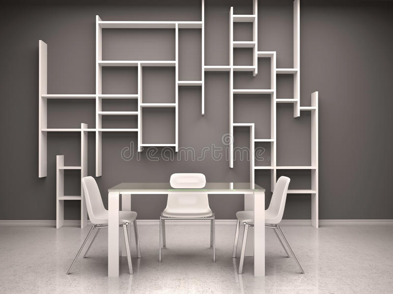 Illustratie van donkere ruimte met witte stoelen en planken stock illustratie