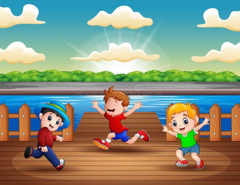 Illustratie van drie jongens die bij de haven lopen stock illustratie