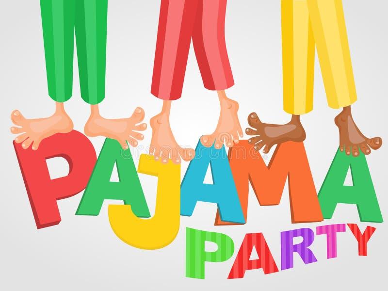 Illustratie van drie jongens die de partij van de pyjamasluimer hebben royalty-vrije stock foto's