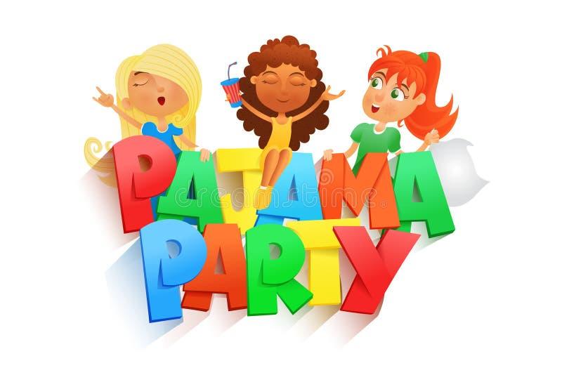 Illustratie van drie meisjes die pyjamapartij hebben Het malplaatje van de Invintationkaart vector illustratie