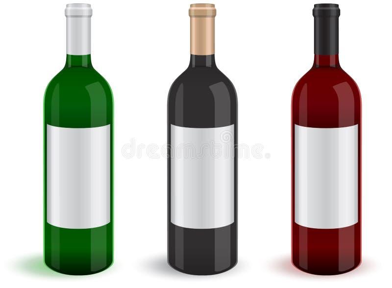 Illustratie van drie realistische wijnfles royalty-vrije illustratie
