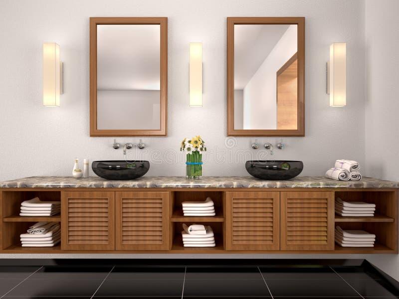 Illustratie van dubbele gootsteen in het badkamers mediterraan-Varkenskot vector illustratie