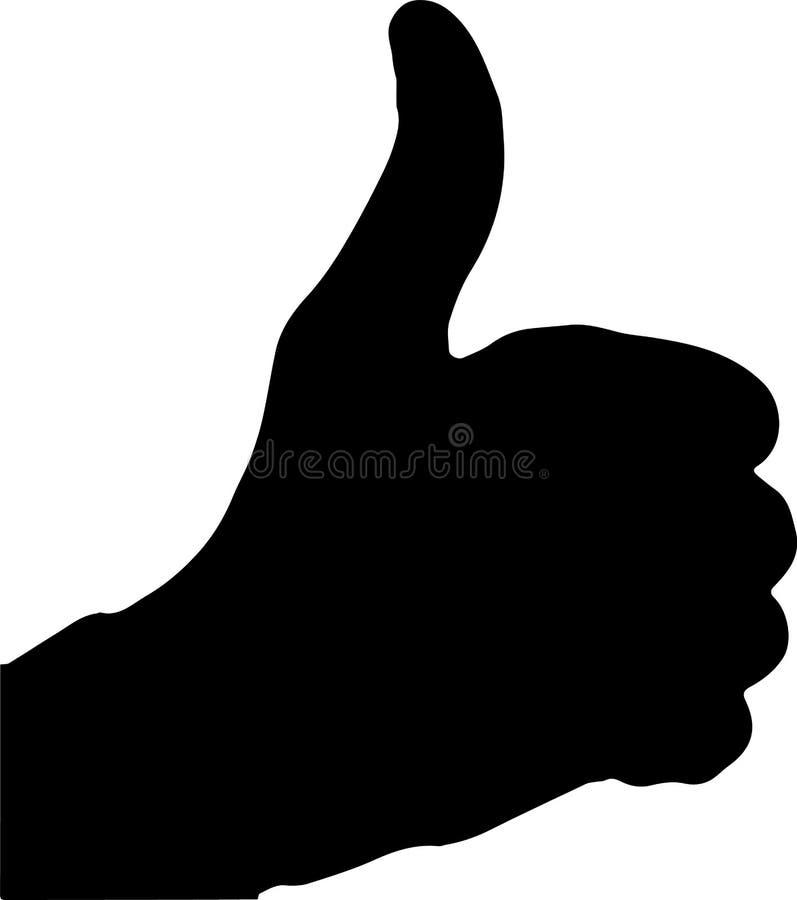 Illustratie van duim op gebaar in vector vector illustratie