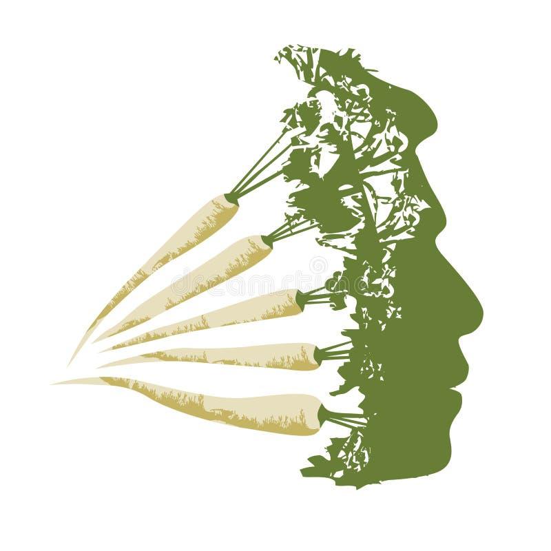 Illustratie van eco vegetarisch gezicht stock afbeelding