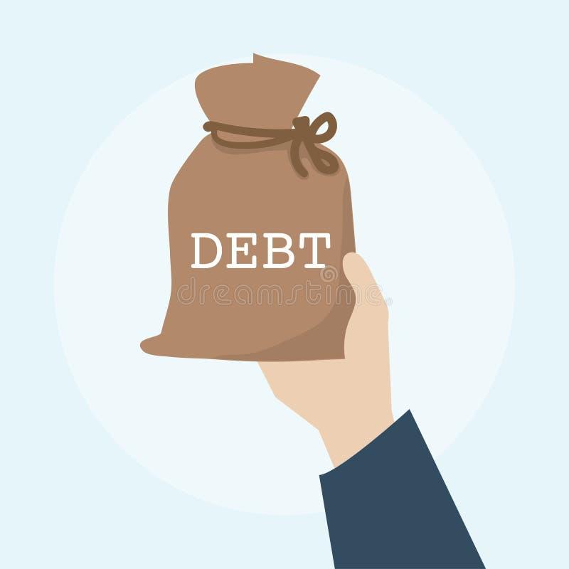Illustratie van economische concept van het schuld het financiële bankwezen stock illustratie