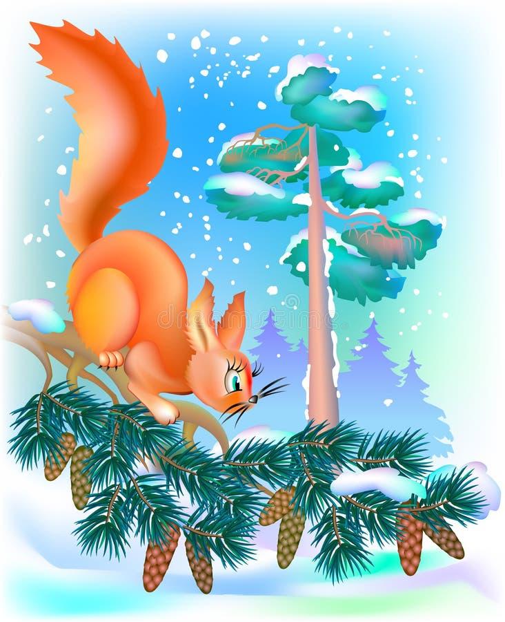 Illustratie van eekhoornzitting op tak tijdens de winter vector illustratie