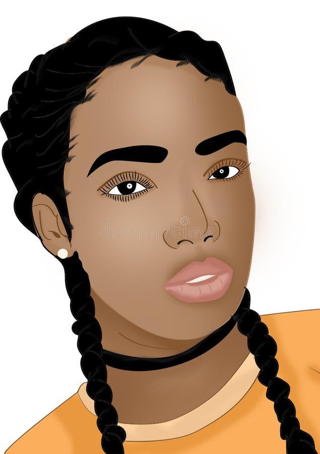 Illustratie van een Afrikaanse vrouw met gevlecht haar royalty-vrije illustratie