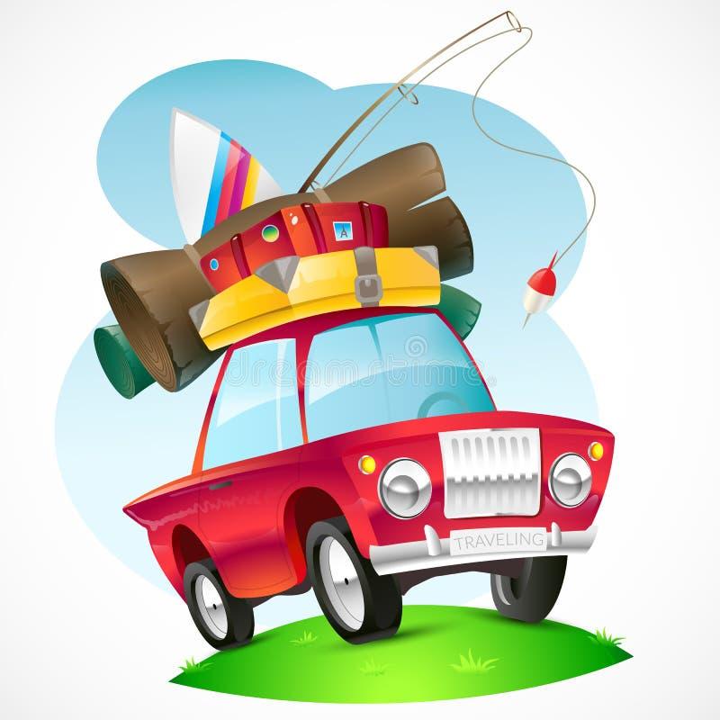 Illustratie van een auto die op het onderwerp reizen vector illustratie