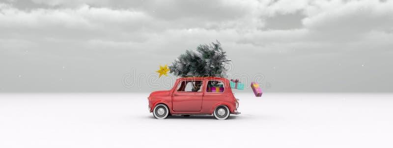 illustratie van een auto met een Kerstboom royalty-vrije illustratie