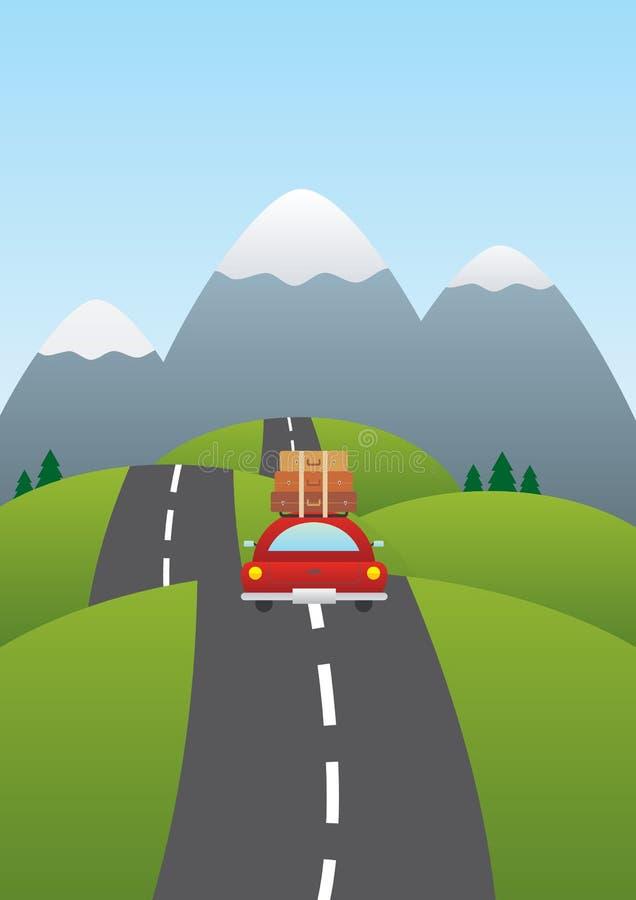 Illustratie van een auto op de weg royalty-vrije stock fotografie