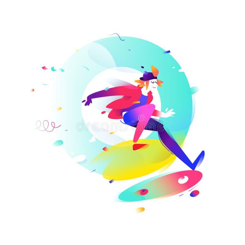 Illustratie van een beeldverhaal skateboarder Vector illustratie S stock illustratie