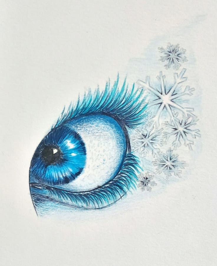 Illustratie van een bevroren oog royalty-vrije stock fotografie