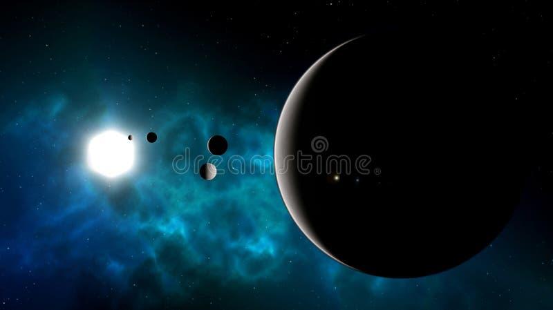Illustratie van een blauwe nevel met een zon plus een planeet met vele manen stock fotografie