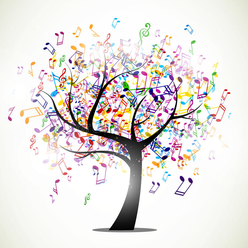 Abstracte muziekboom stock illustratie