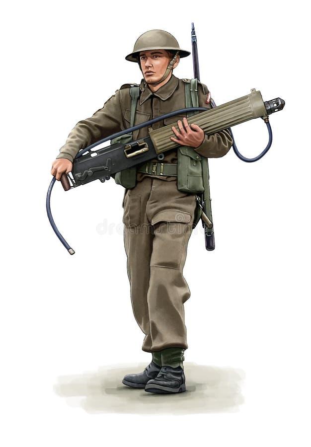 Illustratie van een Britse militair die van WW2 een Machinegeweer dragen royalty-vrije illustratie