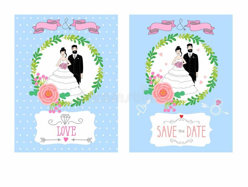 Illustratie van een bruid en een bruidegom Uitstekende huwelijksuitnodiging met plaats voor tekst royalty-vrije illustratie