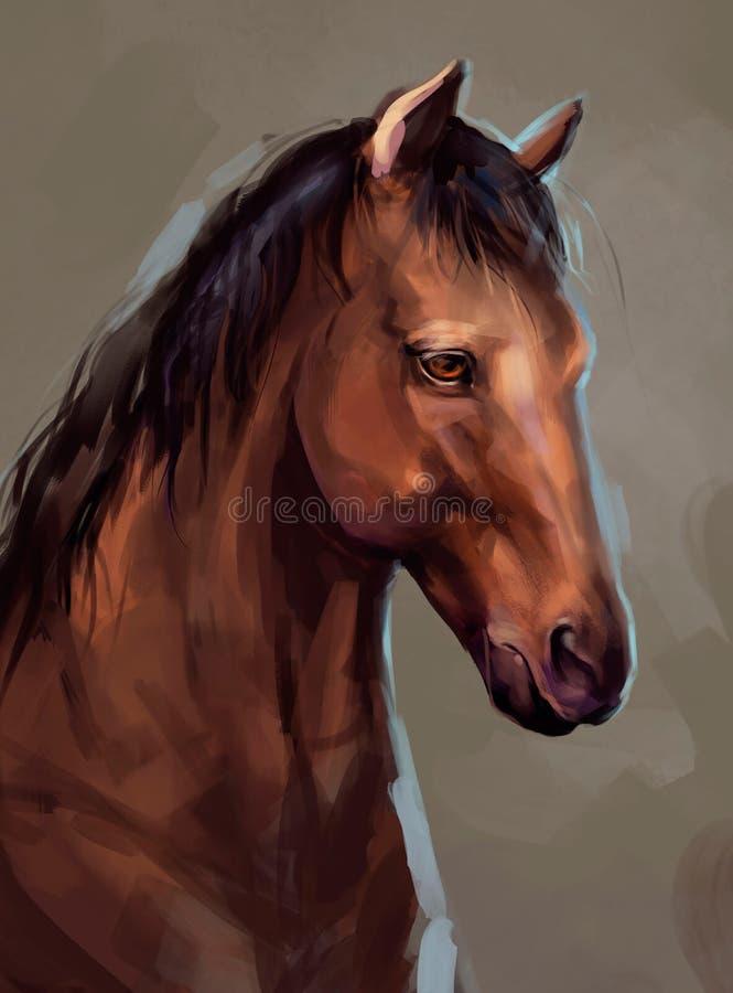 Illustratie van een bruin paard stock illustratie