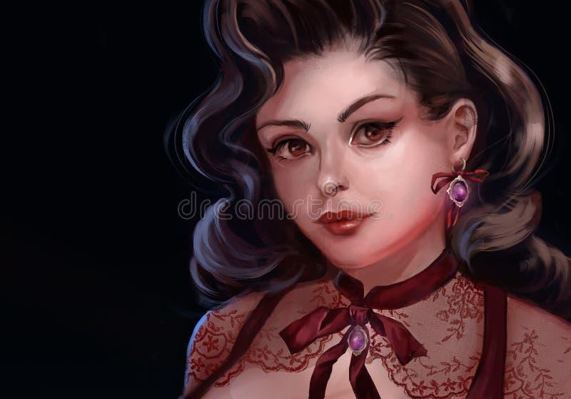 Illustratie van een brunette met weelderig haar vector illustratie