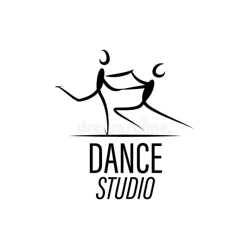 Illustratie van een dansende man en een vrouw Pictogrambalzaal, sportendansen Tango, wals, Latijns-Amerikaanse dansen Vector vlak vector illustratie