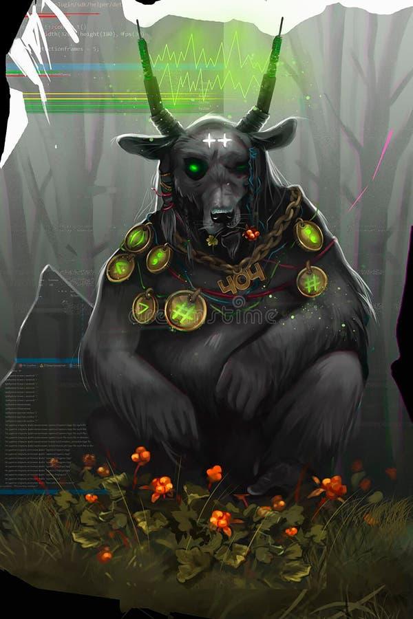 Illustratie van een demon met hoornen vector illustratie