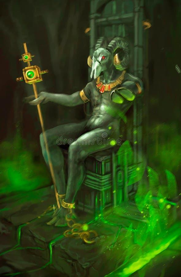 Illustratie van een demon op de troon stock illustratie