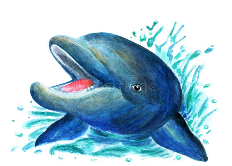 Illustratie van een dolfijn in waterverf wordt geschilderd die Ontwerp van kleren, boeken royalty-vrije stock foto