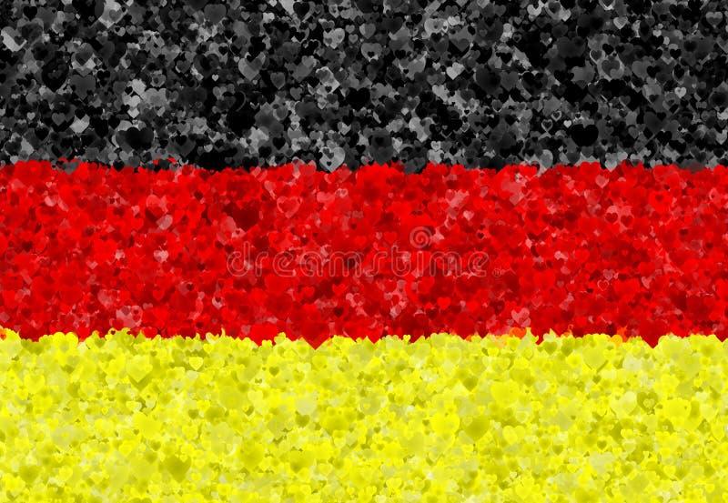 Illustratie van een Duitse Vlag met teruggegeven rond verspreide harten stock illustratie