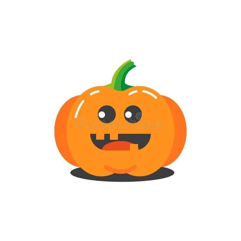 Illustratie van een eenvoudige beeldverhaal grappige stomme pompoen voor Halloween vector illustratie