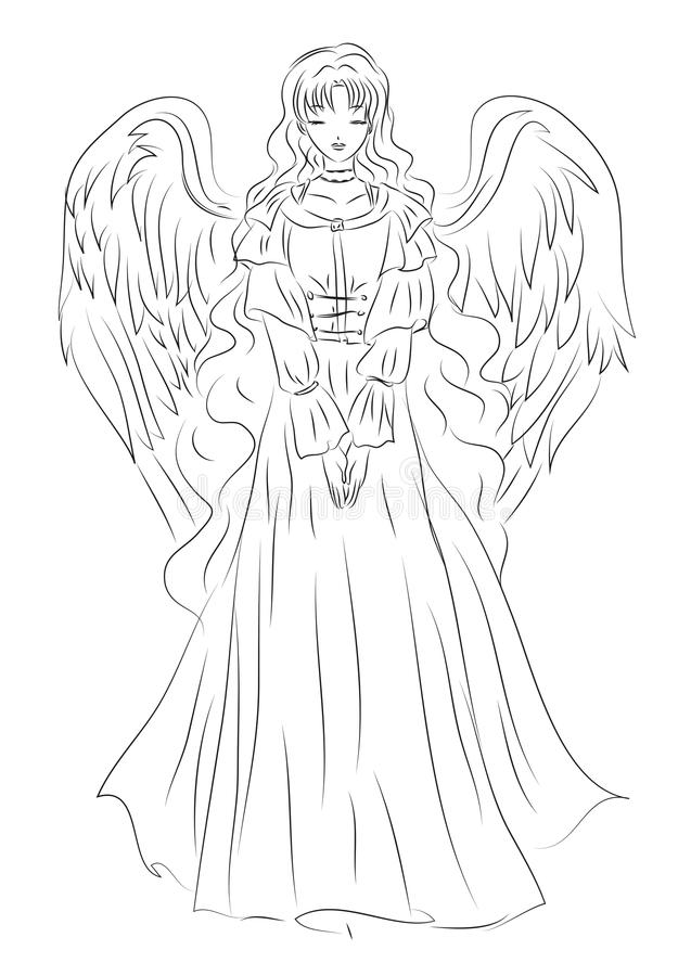 Illustratie van een engel in een bescheiden schetsstijl Het kan gebruik zijn vector illustratie