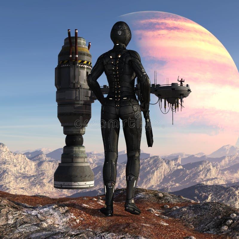 Illustratie van een futuristische militair die zich op een bergtop bevinden die een ruimteschip met een cijfer bekijken die tegen stock illustratie