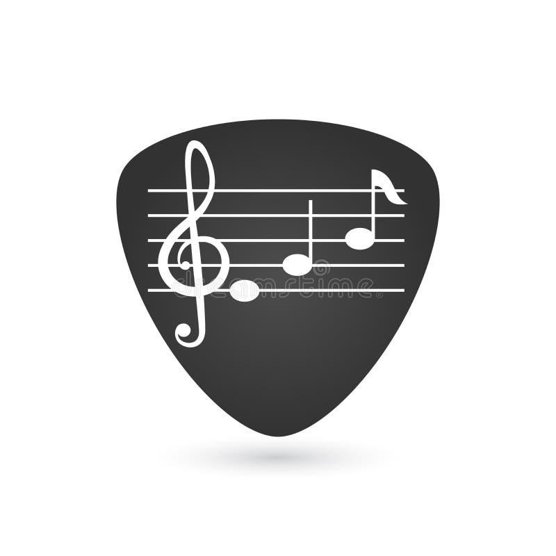 Illustratie van een geïsoleerde gitaaroogst met een g-sleutel en nota's, vectordieillustratie op witte achtergrond wordt geïsolee vector illustratie