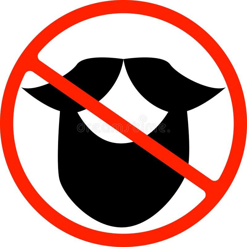 Illustratie van een ge?soleerd verboden signaal met een snor stock illustratie